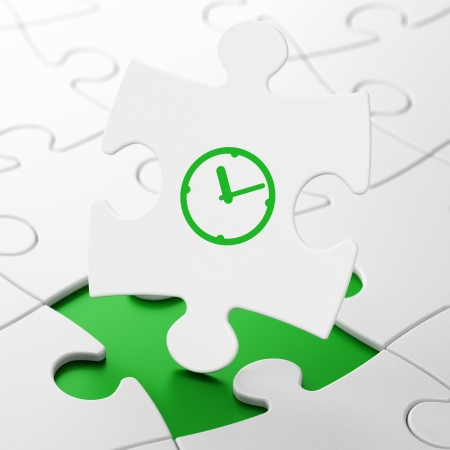 Time concept: Clock on White puzzle pieces background, 3d render photo