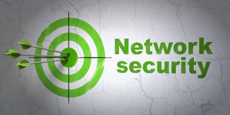 hit tech: Success protection concept: arrows hitting the center of target, Green Network Security on wall background, 3d render