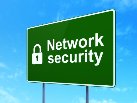 Protection concept: Network Security and Closed Padlock icon on green road (highway) sign, clear blue sky background, 3d render photo