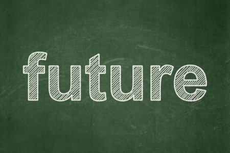 Time concept: text Future on Green chalkboard background, 3d render photo