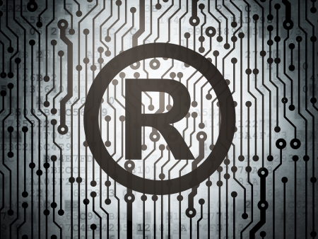 r regulation: Law concept: circuit board with  Registered icon, 3d render Stock Photo