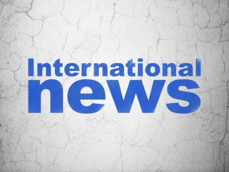 good news: News concept: Blue International News on textured concrete wall background, 3d render