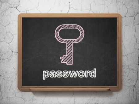 Privacy concept: Key icon and text Password on Black chalkboard on grunge wall background, 3d render photo