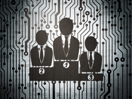 News concept: circuit board with  Business Team icon, 3d render photo