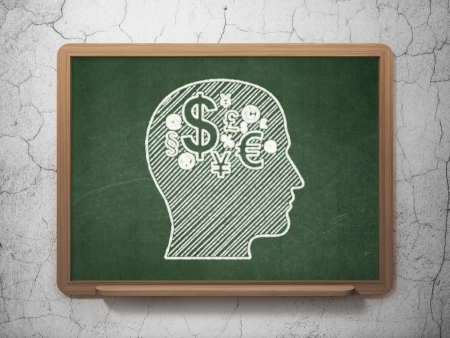 Education concept: Head With Finance Symbol icon on Green chalkboard on grunge wall background, 3d render photo