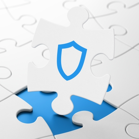 Protection concept: Contoured Shield on White puzzle pieces background, 3d render photo