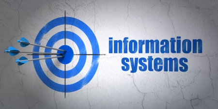 hit tech: Success Information concept: arrows hitting the center of target, Blue Information Systems on wall background, 3d render Stock Photo