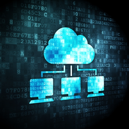 Cloud computing concept: pixelated Cloud Network icon on digital background, 3d render Archivio Fotografico