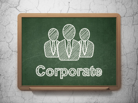 Finance concept: Business People icon and text Corporate on Green chalkboard on grunge wall background, 3d render photo
