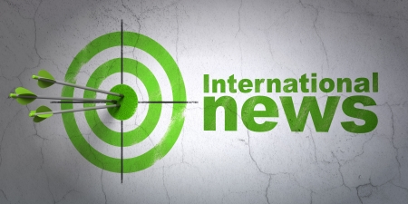 Success news concept: arrows hitting the center of target, Green International News on wall background, 3d render photo