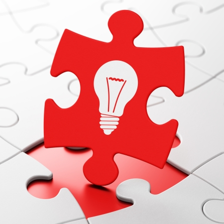 Finance concept: Light Bulb on Red puzzle pieces background, 3d render photo