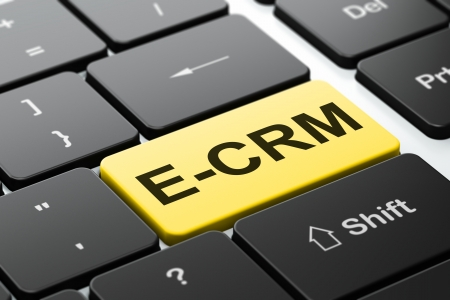 ecrm: Finance concept: computer keyboard with word E-CRM, selected focus on enter button background, 3d render
