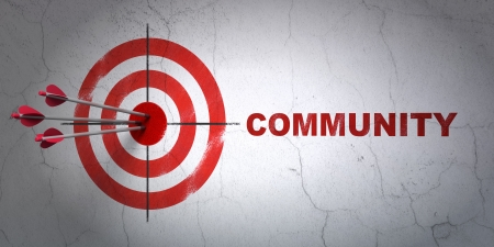 Success social media concept: arrows hitting the center of target, Red Community on wall background, 3d render photo
