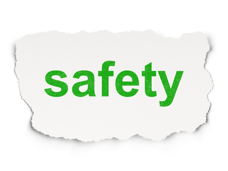 passkey: Protection concept: torn paper with words Safety on Paper background, 3d render