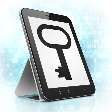 Security concept: black tablet pc computer with Key icon on display. Modern portable touch pad on Blue Digital background, 3d render photo