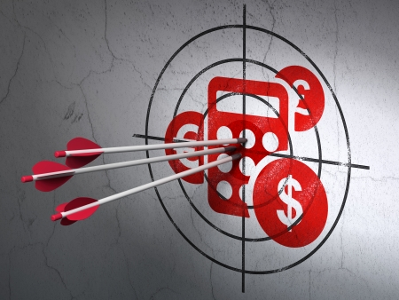 Success marketing concept: arrows hitting the center of Red Calculator target on wall background, 3d render photo