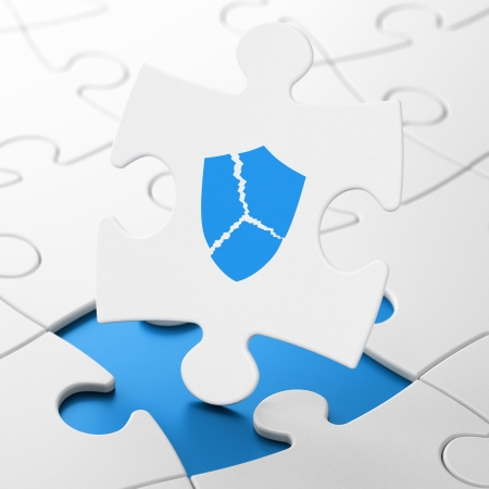 brainteaser: Privacy concept: Broken Shield on White puzzle pieces background, 3d render