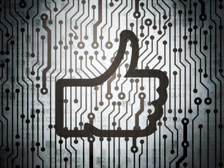 Social media concept: circuit board with  Thumb Up icon, 3d render photo