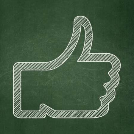 Social network concept: Thumb Up icon on Green chalkboard background, 3d render photo