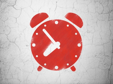 Time concept: Red Alarm Clock on textured concrete wall background, 3d render photo
