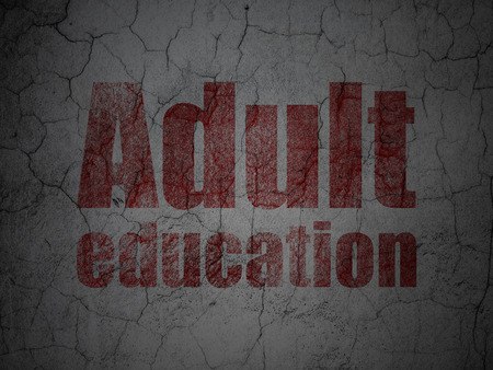 adult education: Education concept: Red Adult Education on grunge textured concrete wall background, 3d render