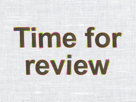 Time concept: CMYK Time for Review on linen fabric texture background, 3d render photo