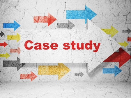 case study: Education concept:  arrow with Case Study on grunge textured concrete wall background, 3d render