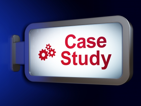 display case: Education concept: Case Study and Gears on advertising billboard background, 3d render Stock Photo