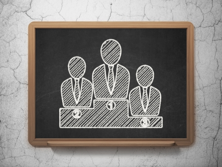 Law concept: Business Team icon on Black chalkboard on grunge wall background, 3d render photo