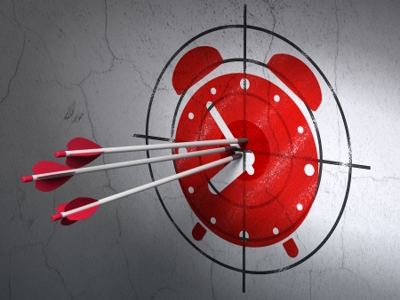 Success timeline concept: arrows hitting the center of Red Alarm Clock target on wall background, 3d render photo