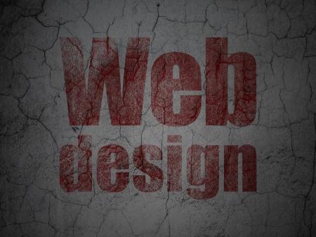 Web design concept: Red Web Design on grunge textured concrete wall background, 3d render photo
