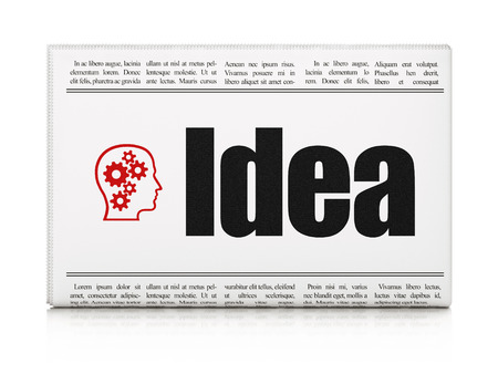 Advertising concept: newspaper headline Idea and Head With Gears icon on White background, 3d render photo