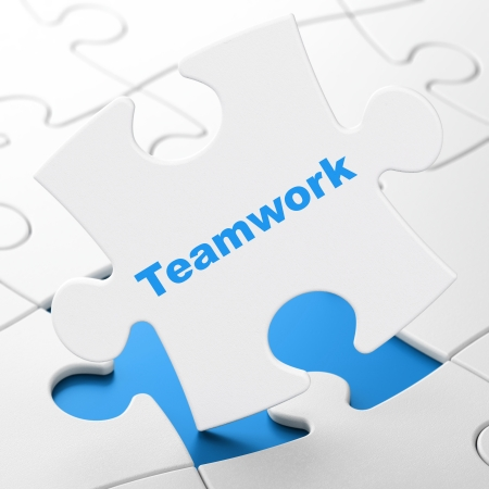 Business concept: Teamwork on White puzzle pieces background, 3d render photo