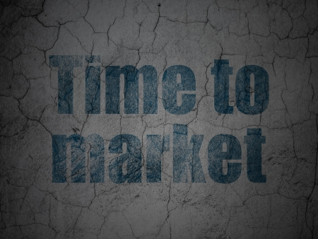 Timeline concept: Blue Time to Market on grunge textured concrete wall background, 3d render photo