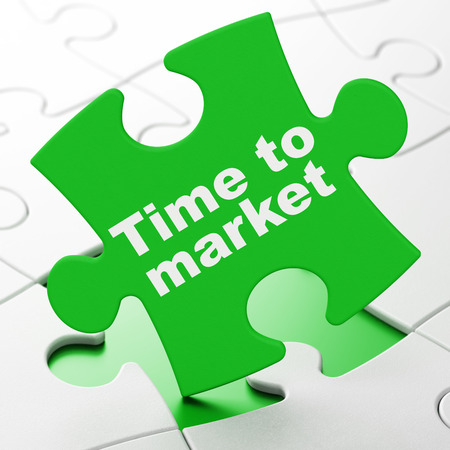 Time concept: Time to Market on Green puzzle pieces background, 3d render photo