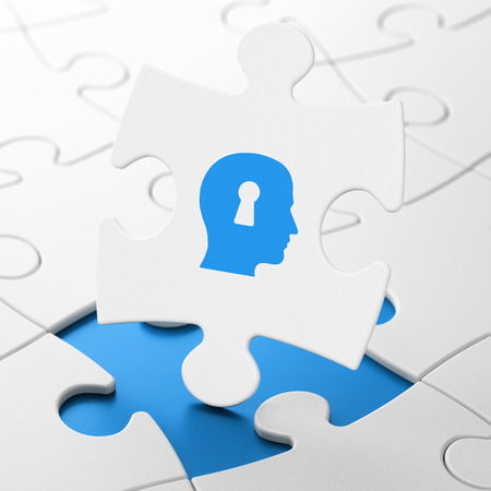 match head: Marketing concept: Head With Keyhole on White puzzle pieces background, 3d render