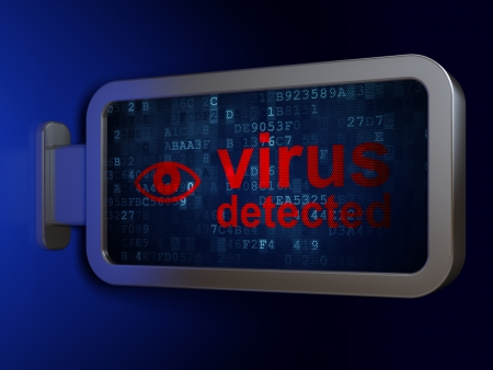 detected: Privacy concept: Virus Detected and Eye on advertising billboard background, 3d render Stock Photo