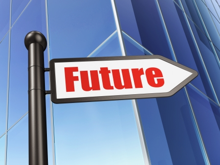 Time concept: sign Future on Building background, 3d render photo