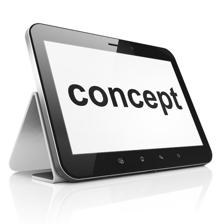 Advertising concept: black tablet pc computer with text Concept on display. Modern portable touch pad on White background, 3d render photo
