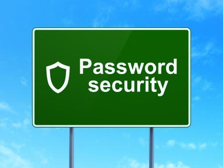 contoured: Concepto de protecci�n: Contrase�a Seguridad y contorneada Shield icono en camino verde (autopista) firmar, claro cielo azul de fondo, 3d