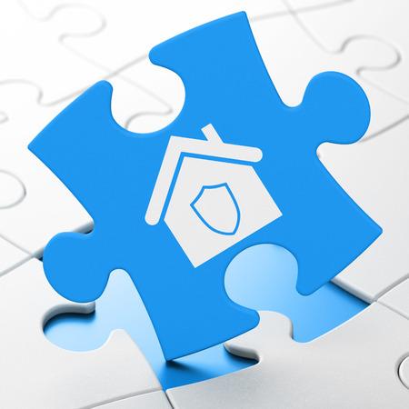 Security concept: Home on Blue puzzle pieces background, 3d render photo
