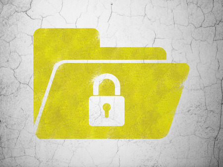 busines: Finance concept: Yellow Folder With Lock on textured concrete wall , 3d render