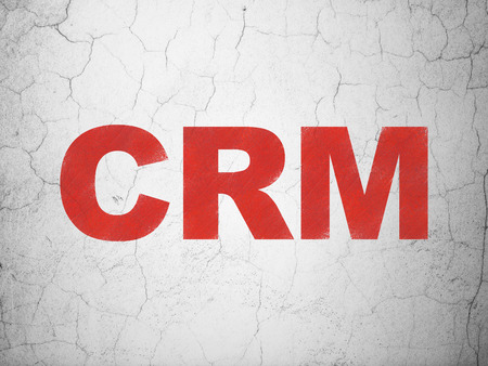 busines: Business concept: Red CRM on textured concrete wall , 3d render