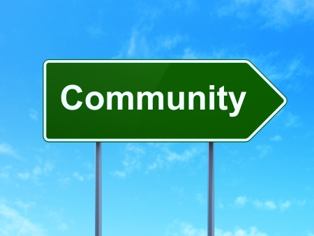 Social media concept: Community on green road (highway) sign, clear blue sky background, 3d render photo