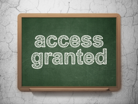 access granted: Safety concept: text Access Granted on Green chalkboard on grunge wall background, 3d render