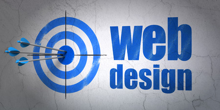 Success web design concept: arrows hitting the center of target, Blue Web Design on wall background, 3d render photo