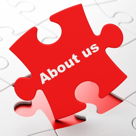 Advertising concept: About Us on Red puzzle pieces background, 3d render photo