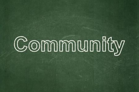 Social media concept: text Community on Green chalkboard , 3d render photo