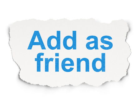 add as friend: Social media concept: torn paper with words Add as Friend on Paper background, 3d render Stock Photo