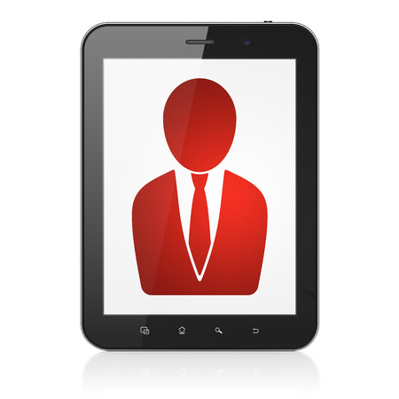 News concept: black tablet pc computer with Business Man icon on display. Modern portable touch pad on White background, 3d render photo